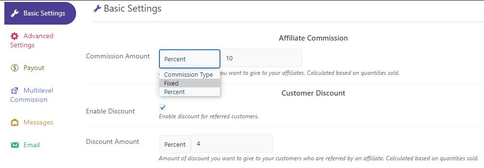 affiliate coommission setting
