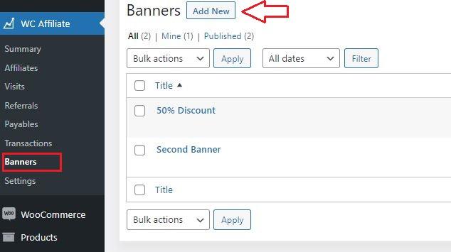 add new banner woocommerce affiliate